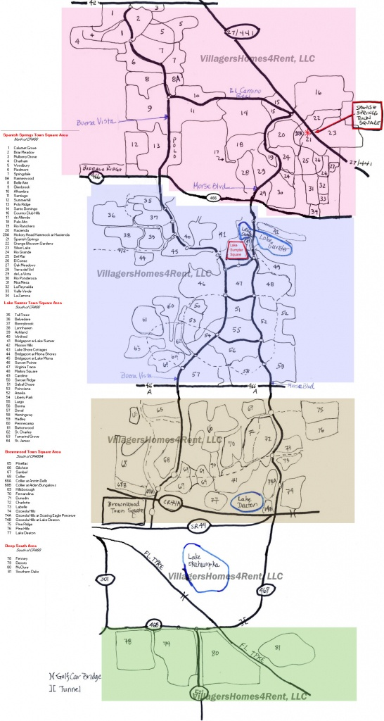 Maps Of The Villages, Copyright Villagershomes4Rent, Llc - Map Of The Villages Florida Neighborhoods