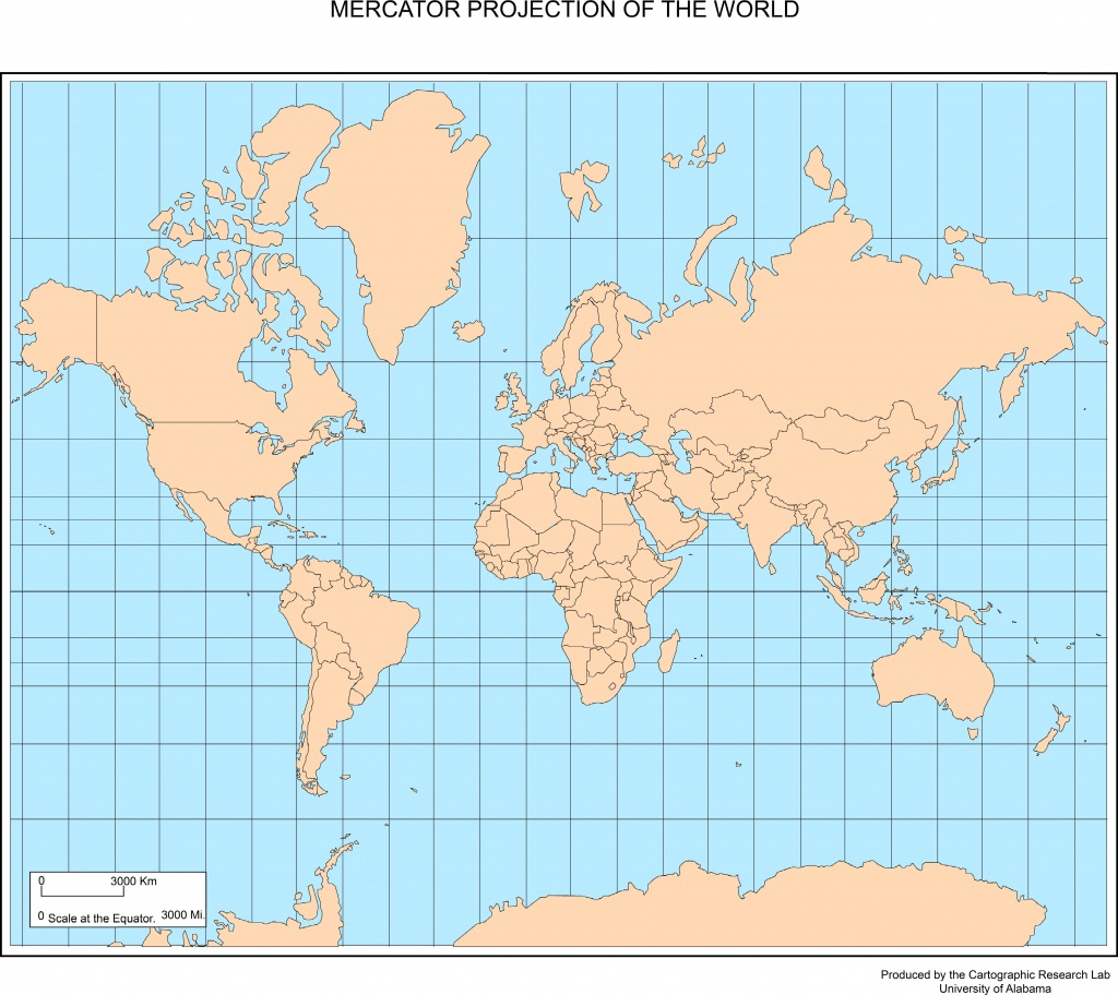 Maps Of The World - World Map Mercator Projection Printable