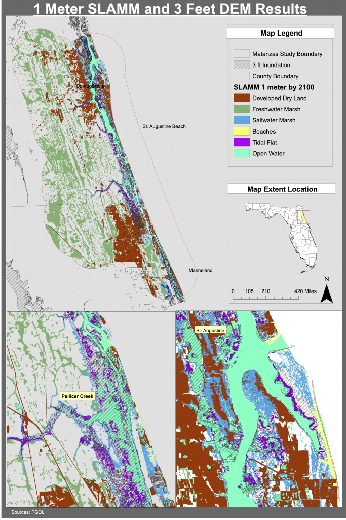 Maps | Planning For Sea Level Rise In The Matanzas Basin - Where Is St Augustine Florida On The Map