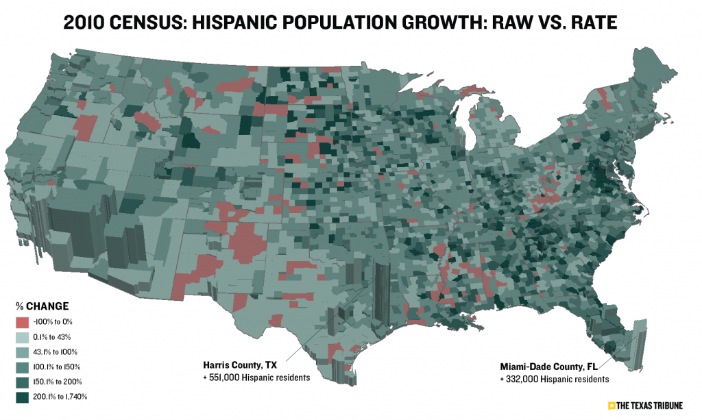 Maps Visualize U.s. Population Growthcounty | The Texas Tribune - Texas Population Heat Map