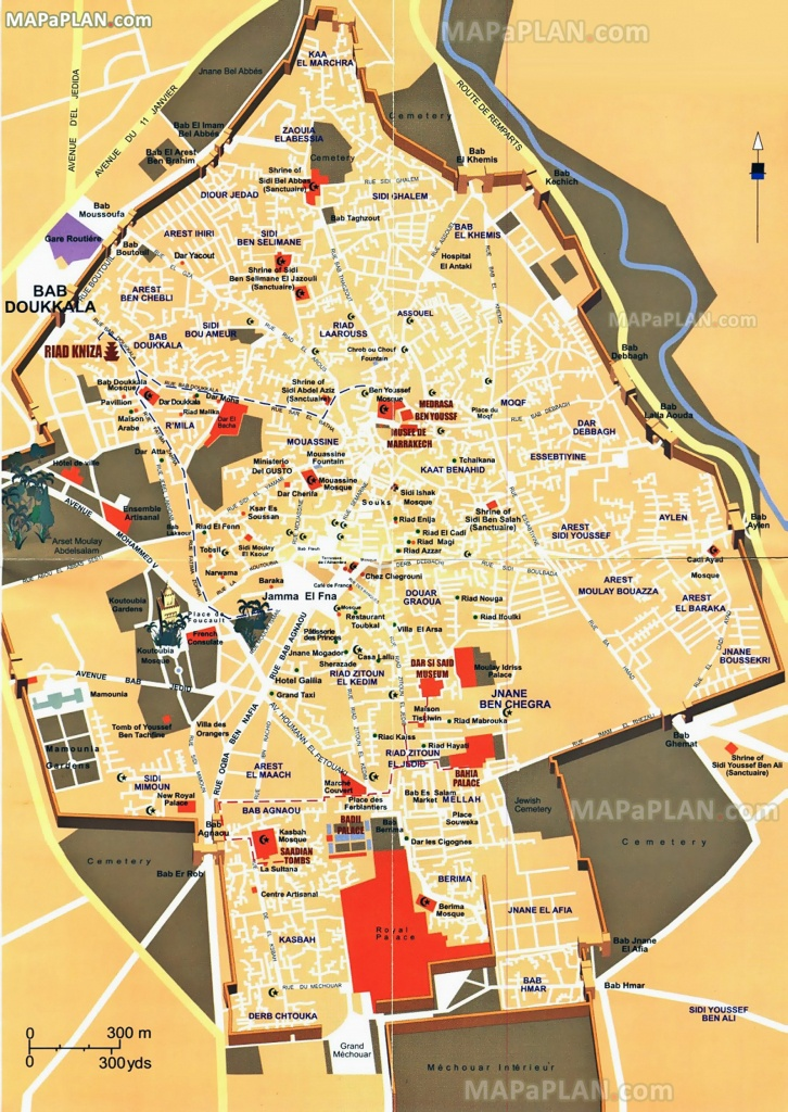 Marrakech Map - Central Inner City Must-See Places & Main Landmarks - Marrakech Tourist Map Printable