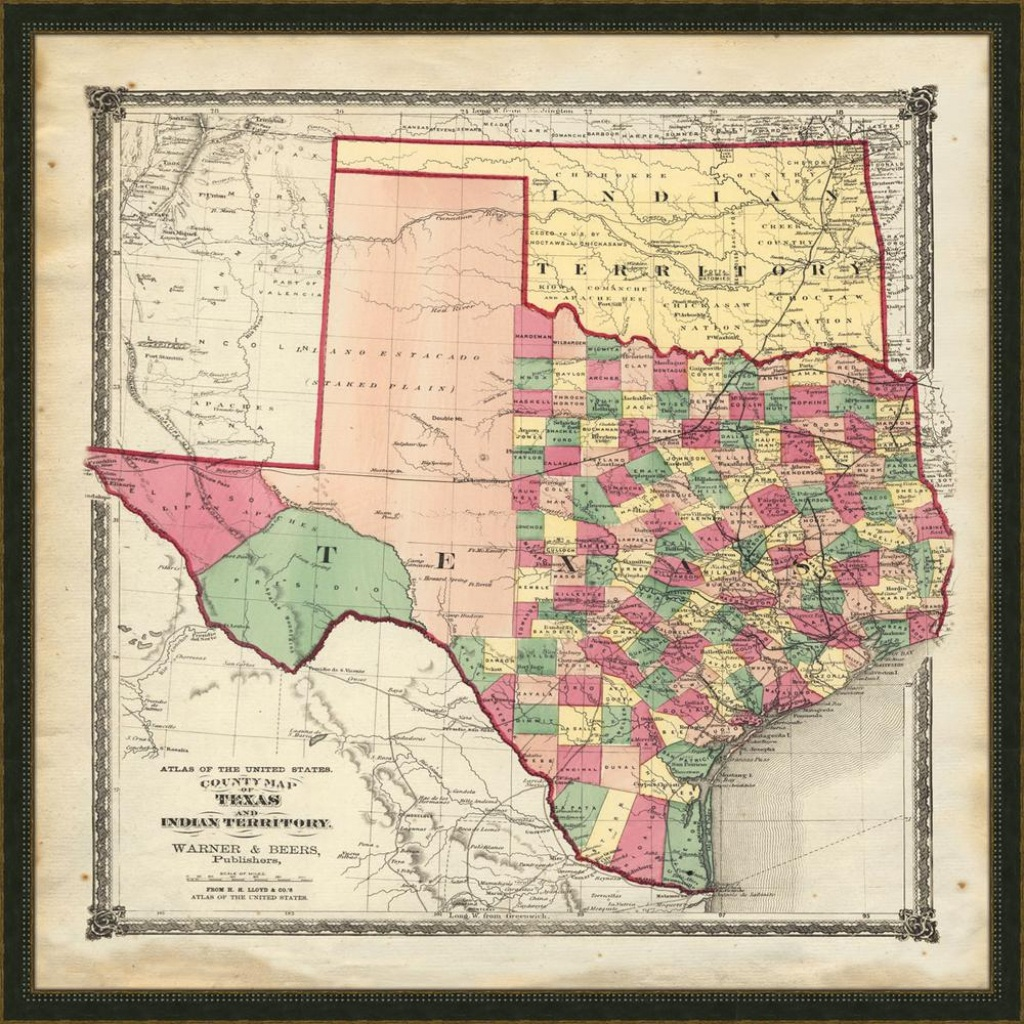 "Melissa Van Hise 32 In. X 32 In. ""vintage Map Of Texas"" Framed - Vintage Texas Map Prints"