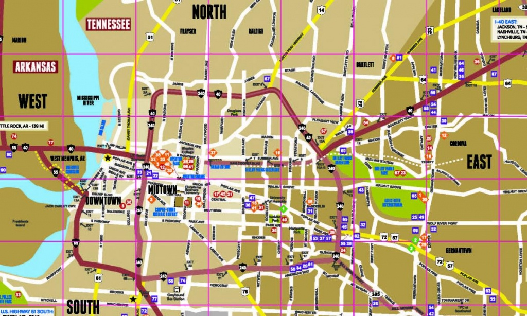 Memphis Map | Map Of Memphis & The Surrounding Areas - Memphis City Map Printable