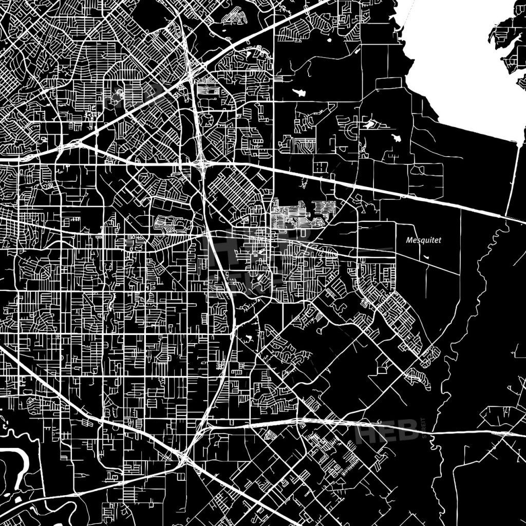Mesquite, Texas, Downtown Map, Dark   Hebstreits Sketches - Mesquite Texas Map