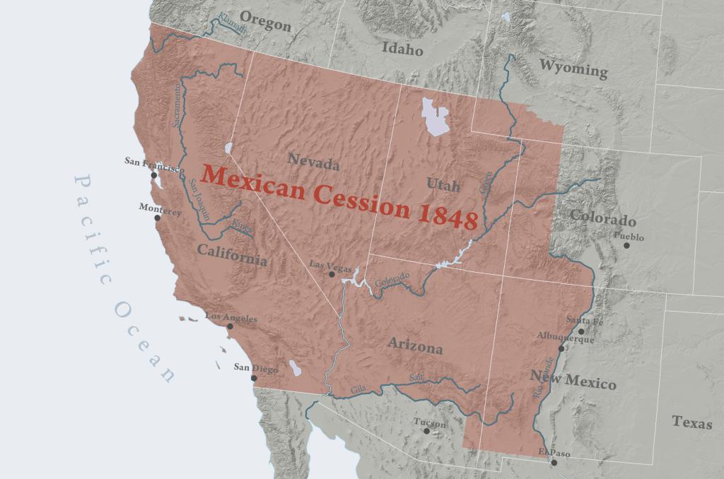 Mexican Cession - Wikipedia - Winston California Map