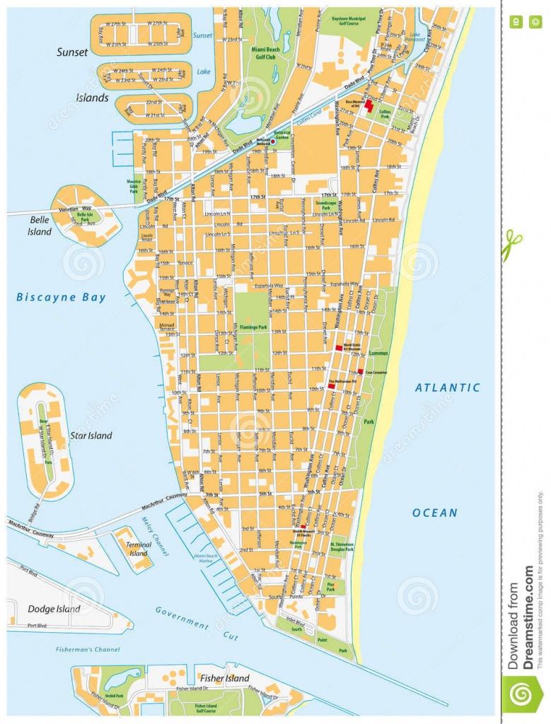 Miami-Beach Street Map, Florida Stock Illustration - Illustration Of - Map Of South Beach Miami Florida