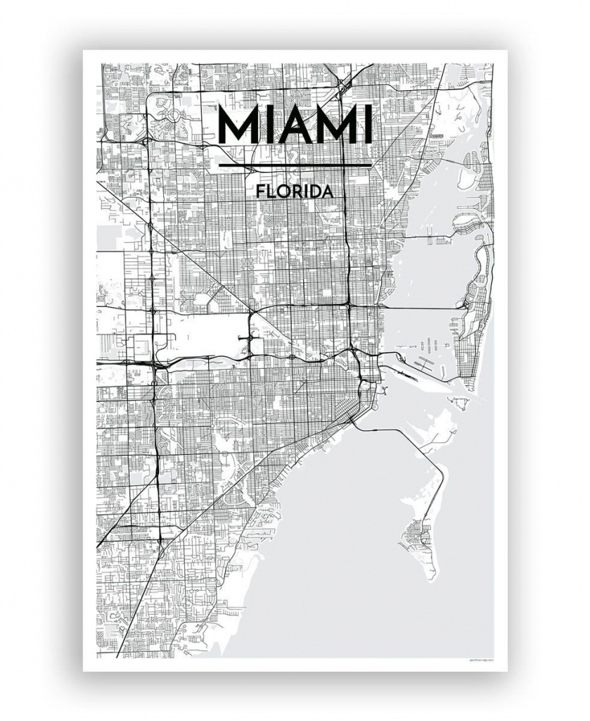 Miami Map Art Print | Graphic • Signage | Miami Map, Map Art - Miami City Map Printable