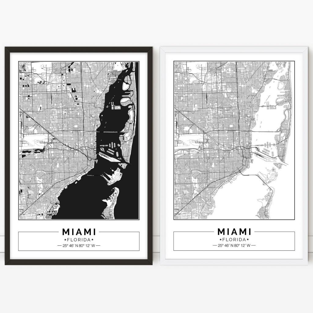 Miami Map Florida City Map Digital Poster Printable | Etsy - Miami City Map Printable