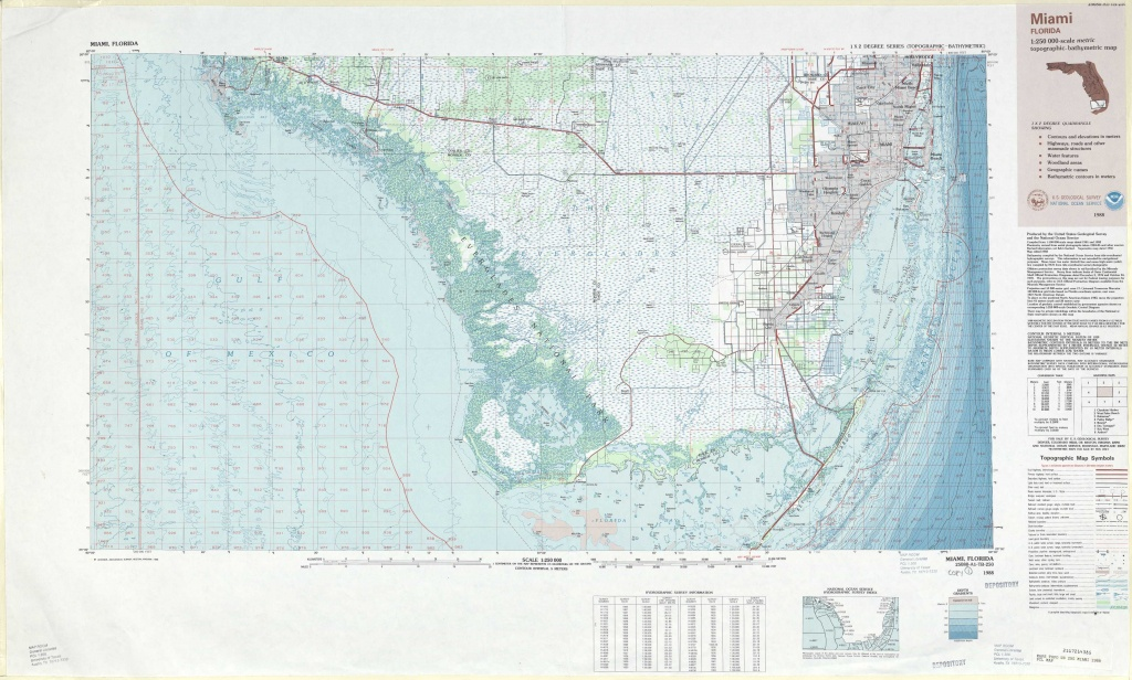 Miami Topographic Maps, Fl - Usgs Topo Quad 25080A1 At 1:250,000 Scale - Topographic Map Of South Florida