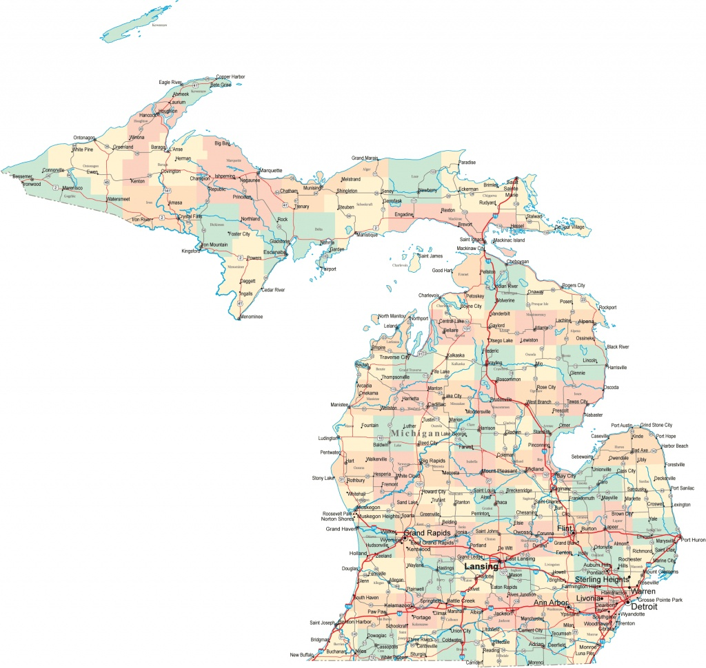 Michigan Road Map Awesome Printable Map Of Michigan - Diamant-Ltd - Printable Map Of Michigan