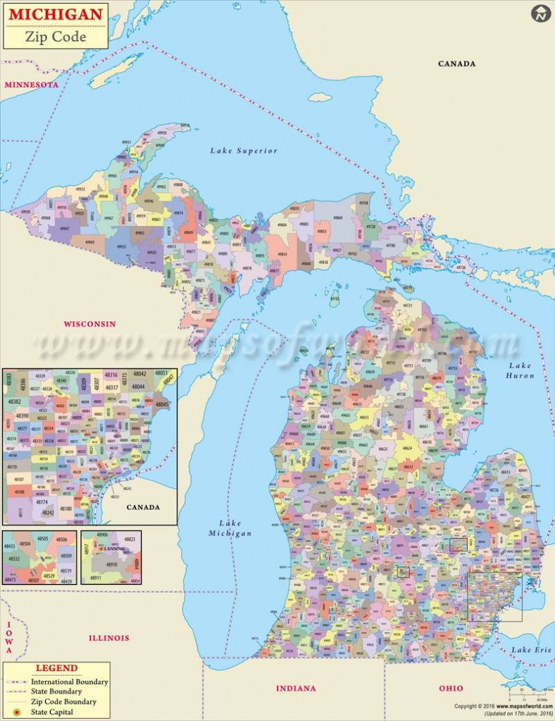 Michigan Zip Code Map, Michigan Postal Code - Map From Michigan To Florida