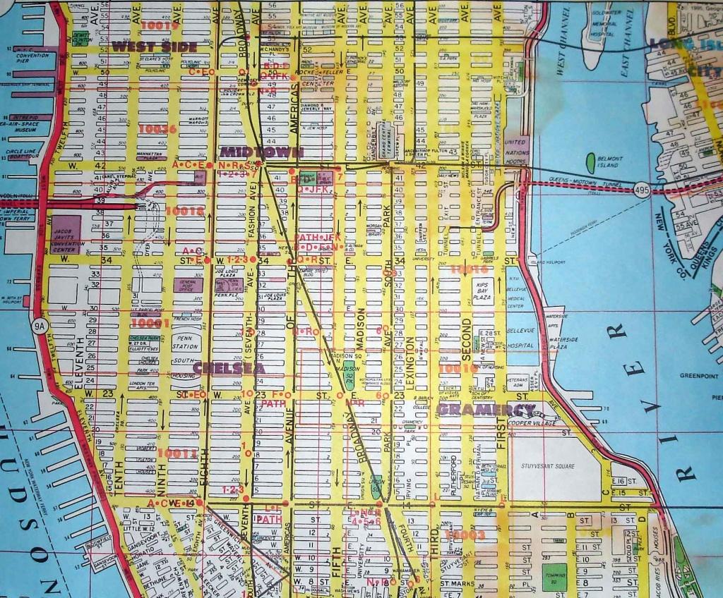 Midtown-New York City Street Map Red - New York City Street Map Printable