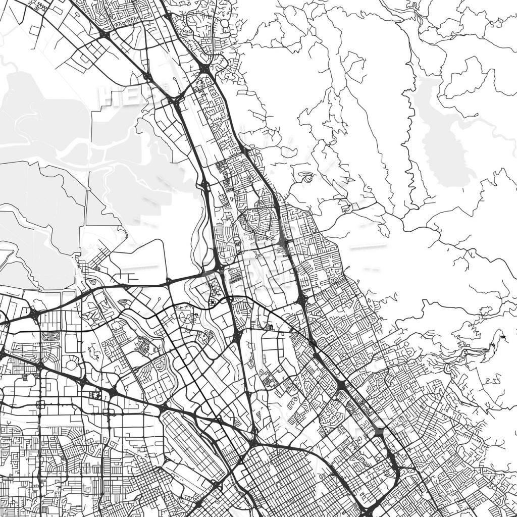 Milpitas, California - Area Map - Light   Hebstreits Sketches - Milpitas California Map