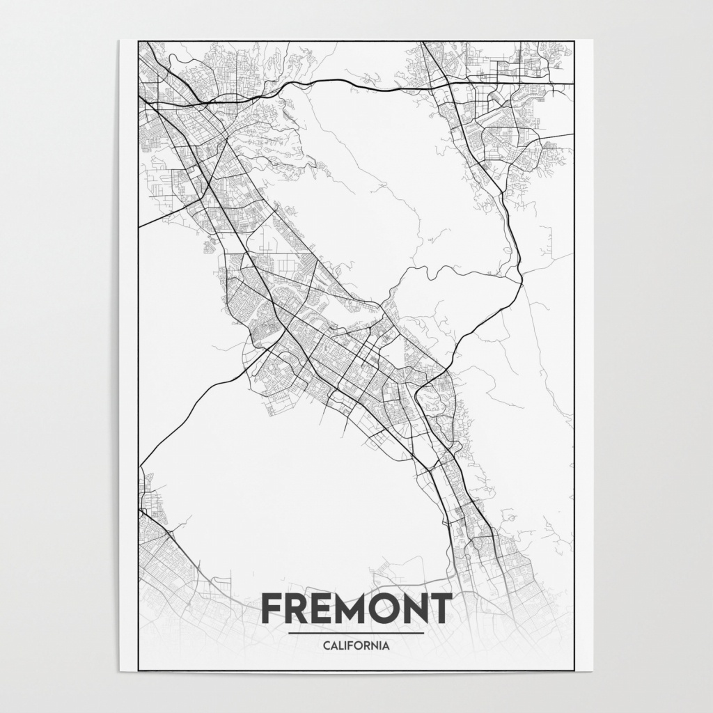 Minimal City Maps - Map Of Fremont, California, United States Poster - Fremont California Map