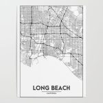 Minimal City Maps   Map Of Long Beach, California, United States   California Map Poster