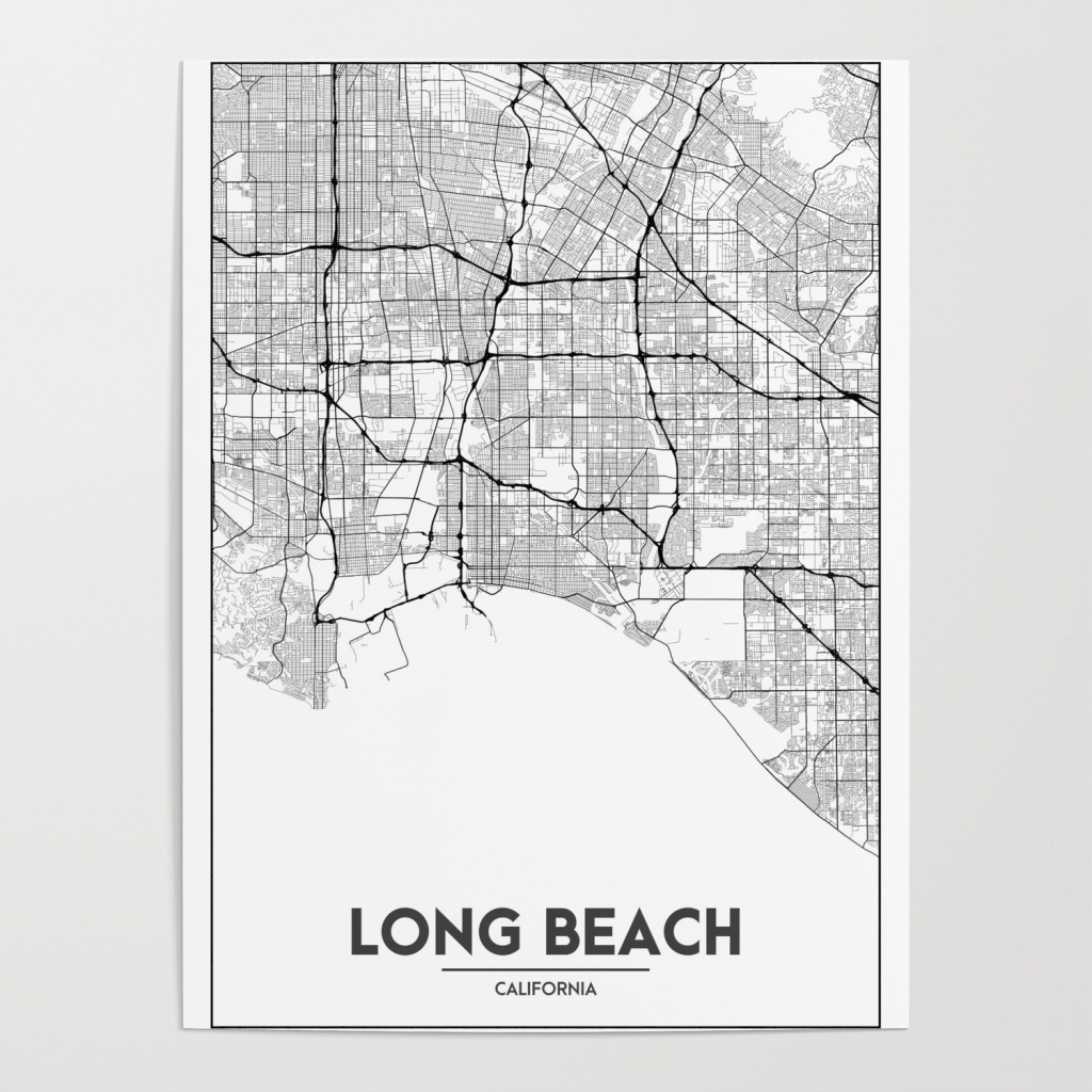 Minimal City Maps - Map Of Long Beach, California, United States - California Map Poster