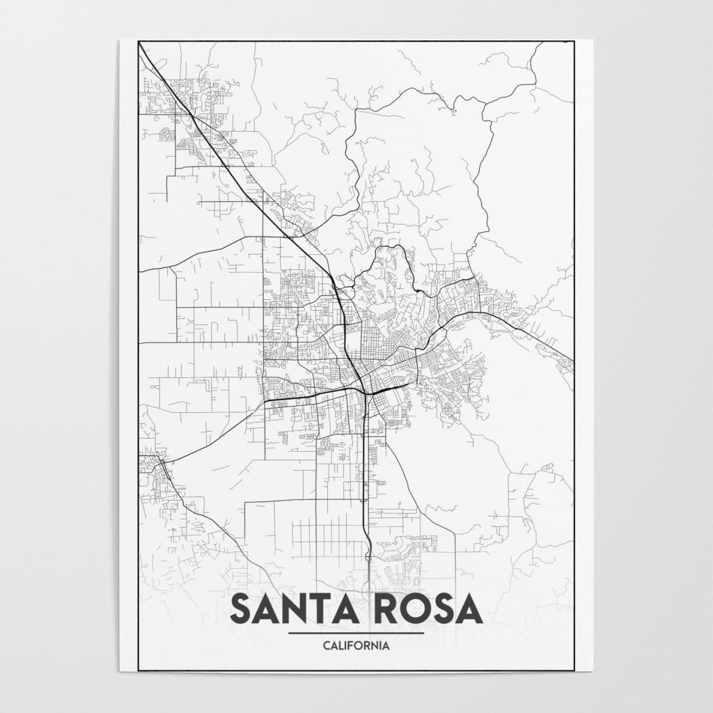 Minimal City Maps - Map Of Santa Rosa, California, United States - California Map Poster