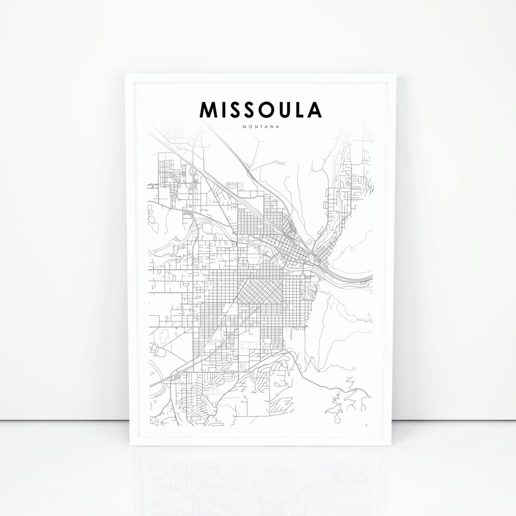 Missoula Map Print, Montana Mt Usa Map Art Poster, City Street Road Map  Print, Nursery Room Wall Office Decor, Printable Map - Printable Missoula Map