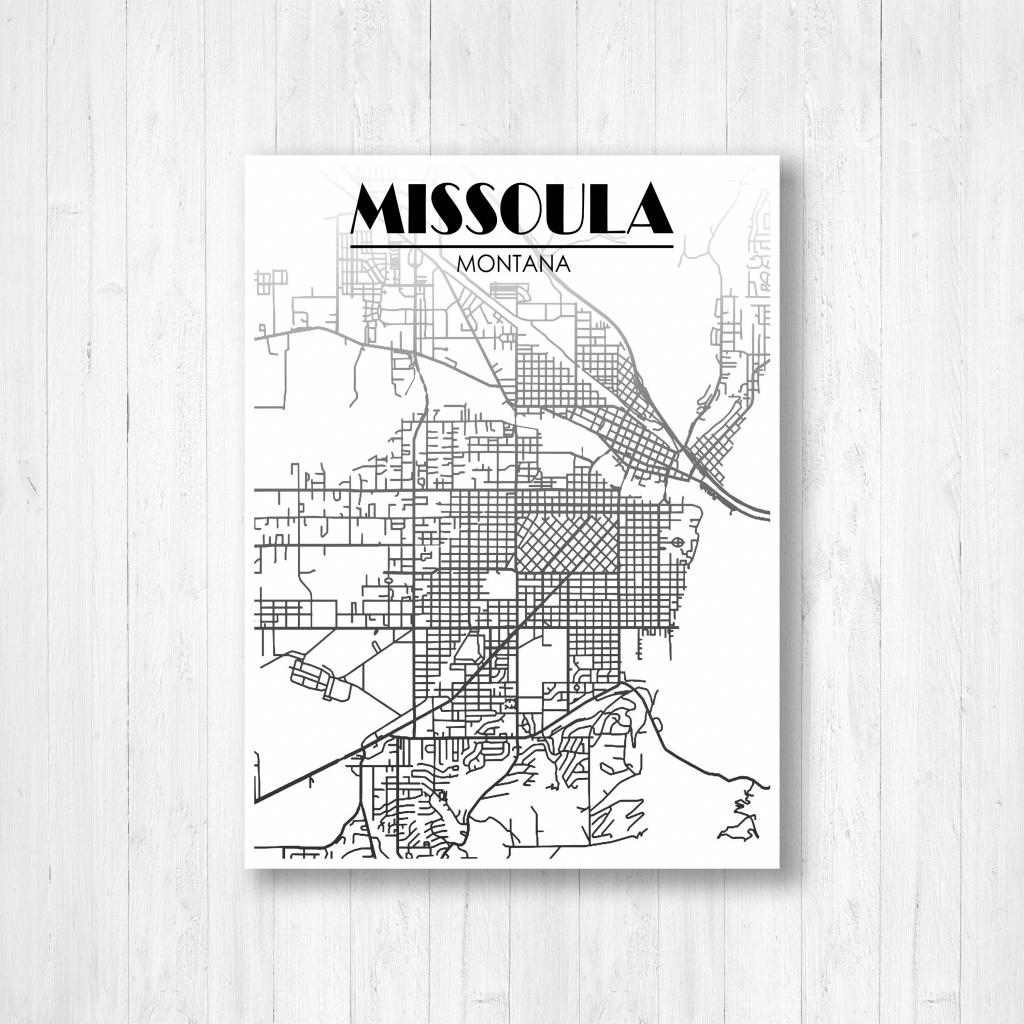 Missoula, Montana, Street Map, Fading Map, Missoula Street Map, City Map,  Black And White, Map Print, City Street Map, Map Of Missoula - Printable Missoula Map