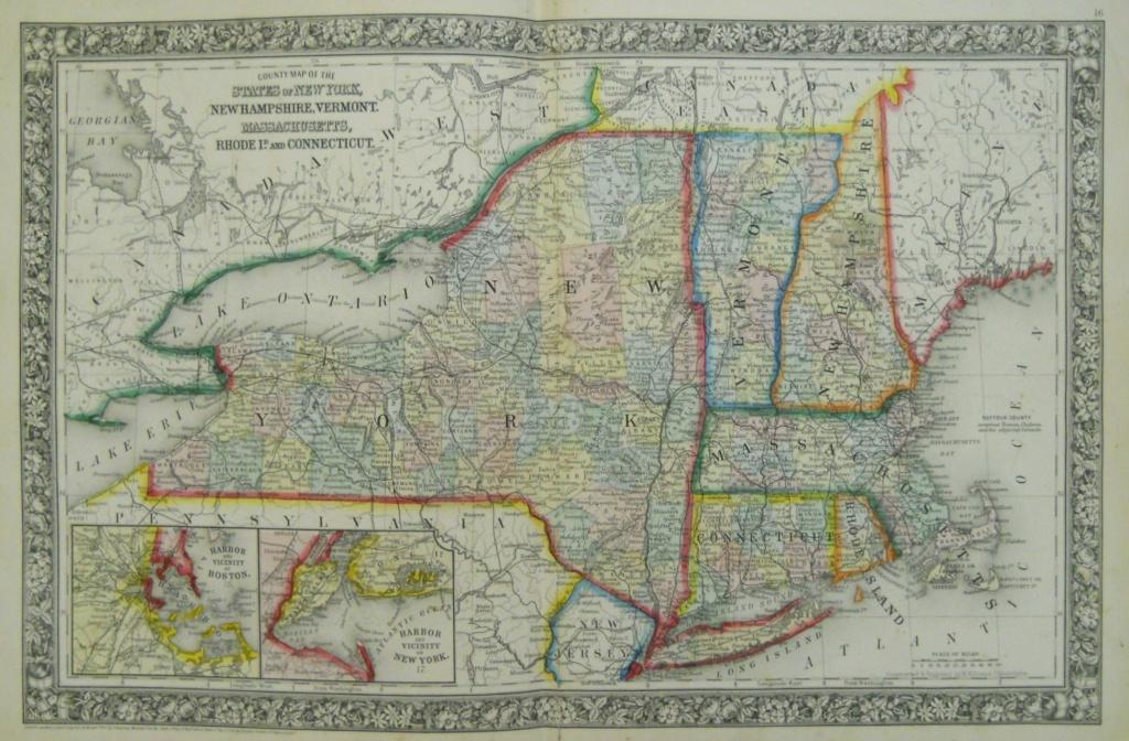 Mitchell New York And New England 1863 - Philadelphia Print Shop - Printable Map Of New England States