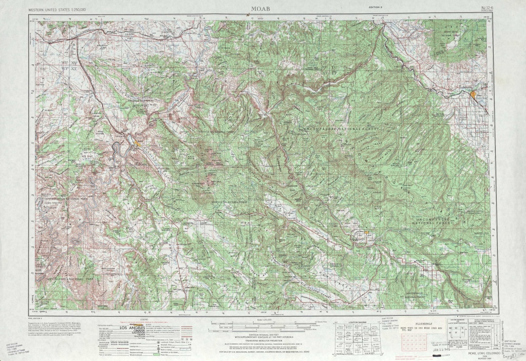 Moab Topographic Maps, Co, Ut - Usgs Topo Quad 38108A1 At 1:250,000 - Printable Topographic Map