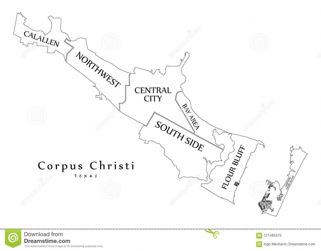 Modern City Map - Corpus Christi Texas City Of The Usa With - City Map Of Corpus Christi Texas