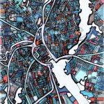Modern Map Art – Abstract Map Print Of Providence Ri. Wall Art   Printable Map Of Providence Ri