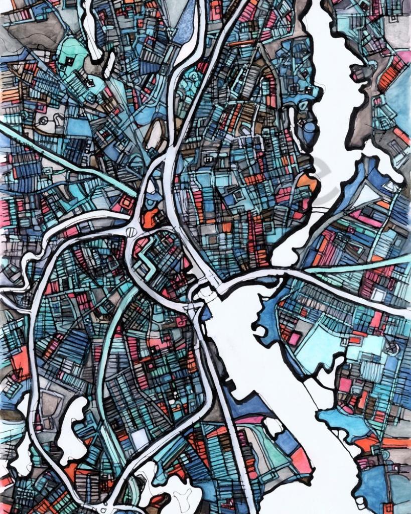 Modern Map Art – Abstract Map Print Of Providence Ri. Wall Art - Printable Map Of Providence Ri