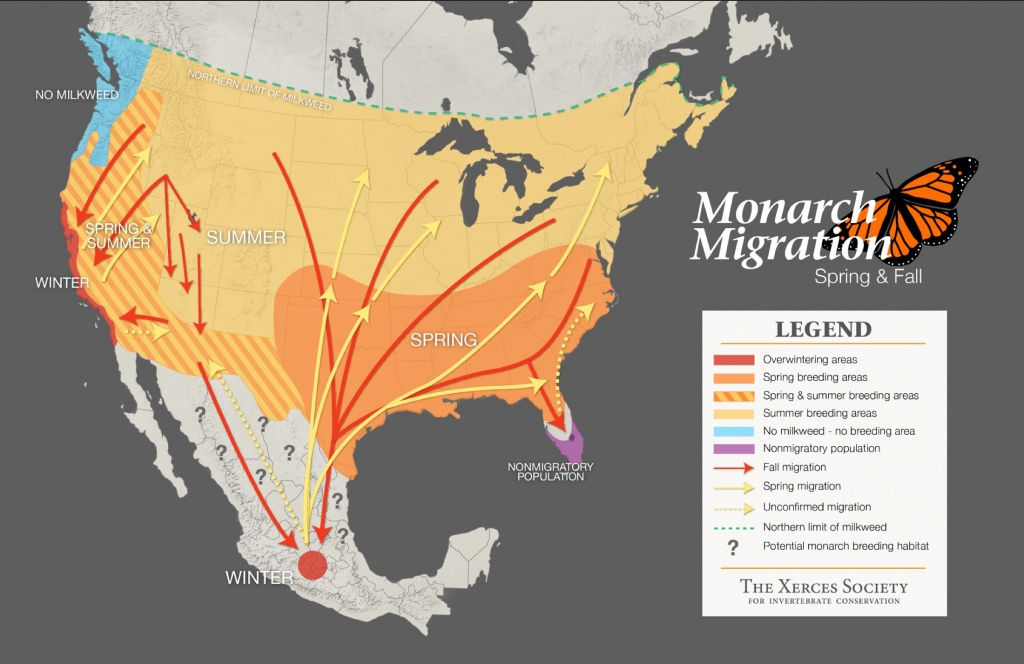 Monarch Butterfly Distribution Map - Monarch Butterfly Migration Map California