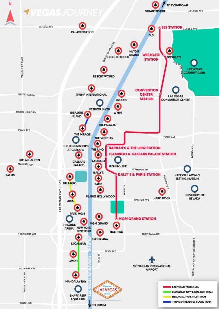 Monorail, Tram & Strip Map | Las Vegas Maps | Vegasjourney - Printable Map Of Vegas Strip