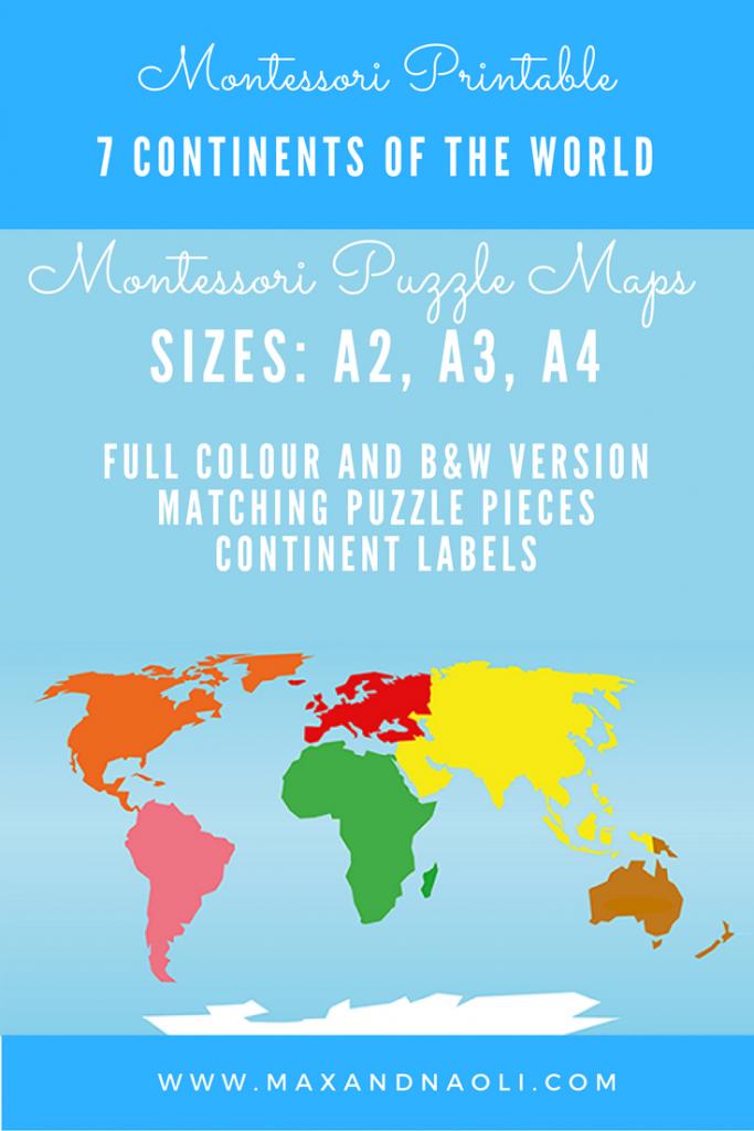 Montessori Puzzle Maps - 7 Continents Of The World   Montessori - World Map Puzzle Printable