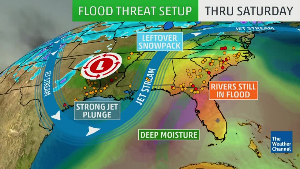 More Rain, Flood Threat For The Southeast   The Weather Channel - Weather Channel Florida Map