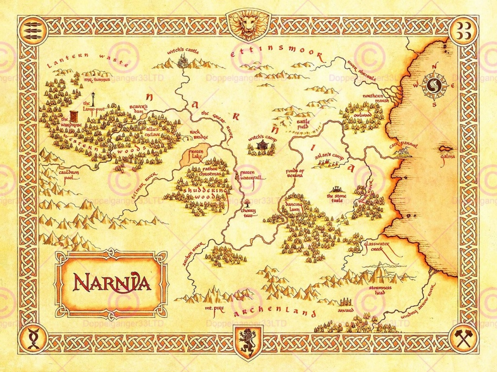 Movie Film Map Narnia Lewis Classic Sci Fi Poster Print Lv10152 - Printable Map Of Narnia