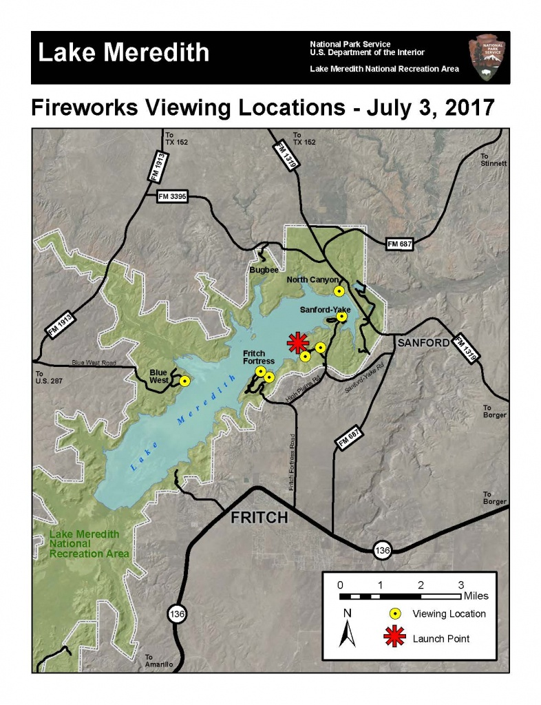 Music And Fireworks At The Lake - Lake Meredith National Recreation - Fritch Texas Map