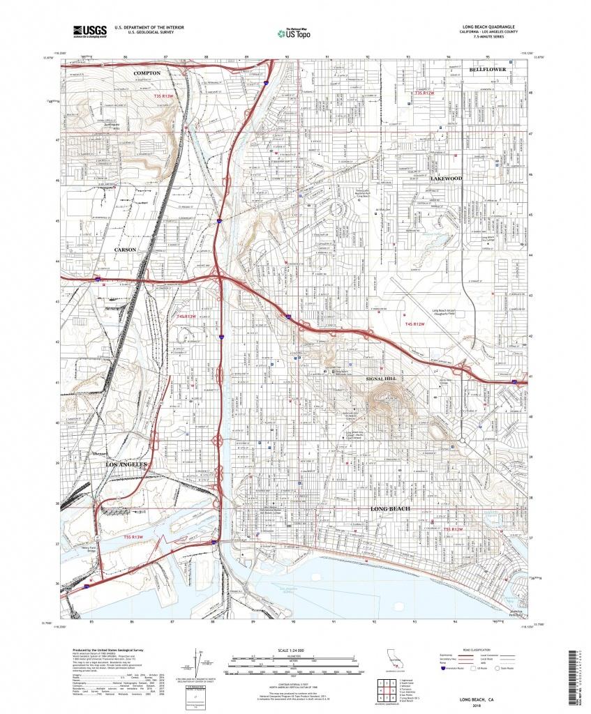 Mytopo Long Beach, California Usgs Quad Topo Map - Map Of Long Beach California And Surrounding Areas
