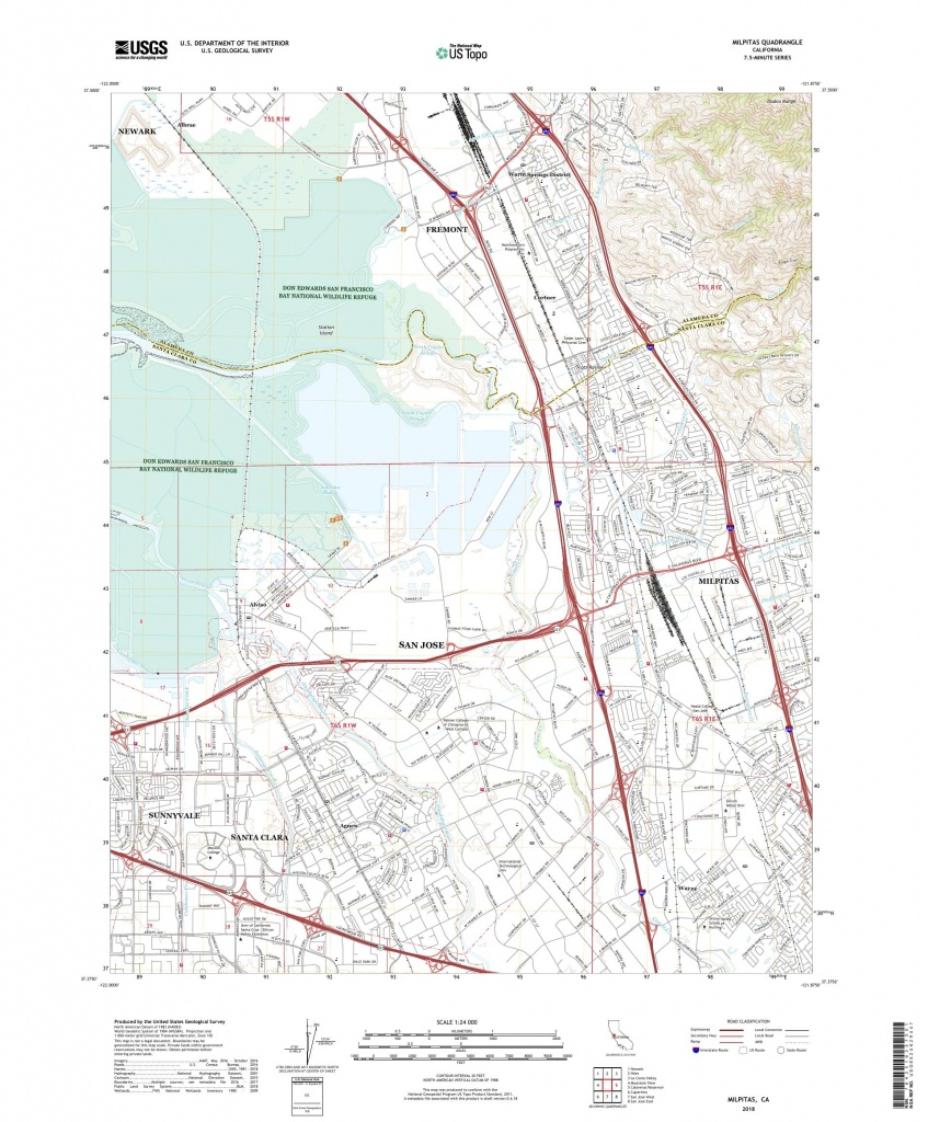 Mytopo Milpitas, California Usgs Quad Topo Map - Milpitas California Map