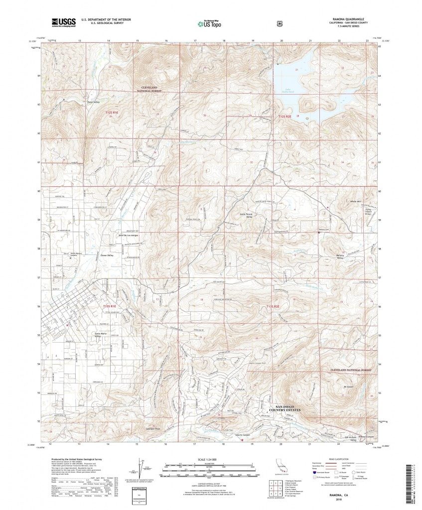 Mytopo Ramona, California Usgs Quad Topo Map - Ramona California Map