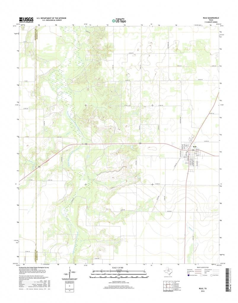Mytopo Rule, Texas Usgs Quad Topo Map - Rule Texas Map