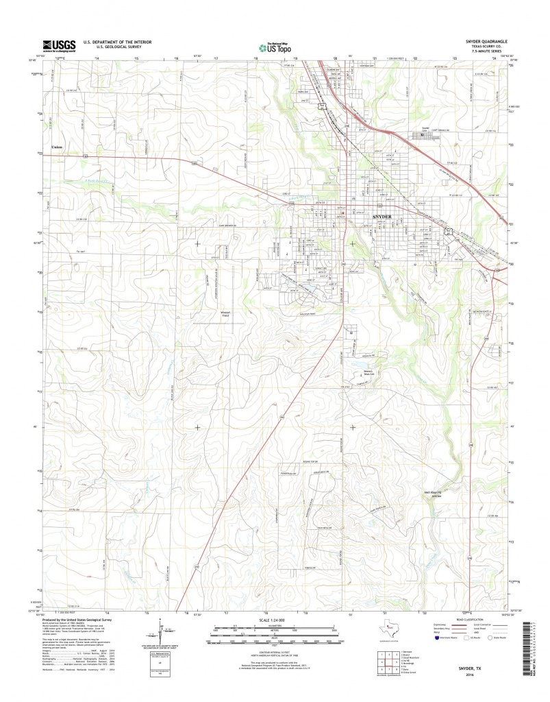 Mytopo Snyder, Texas Usgs Quad Topo Map - Snyder Texas Map