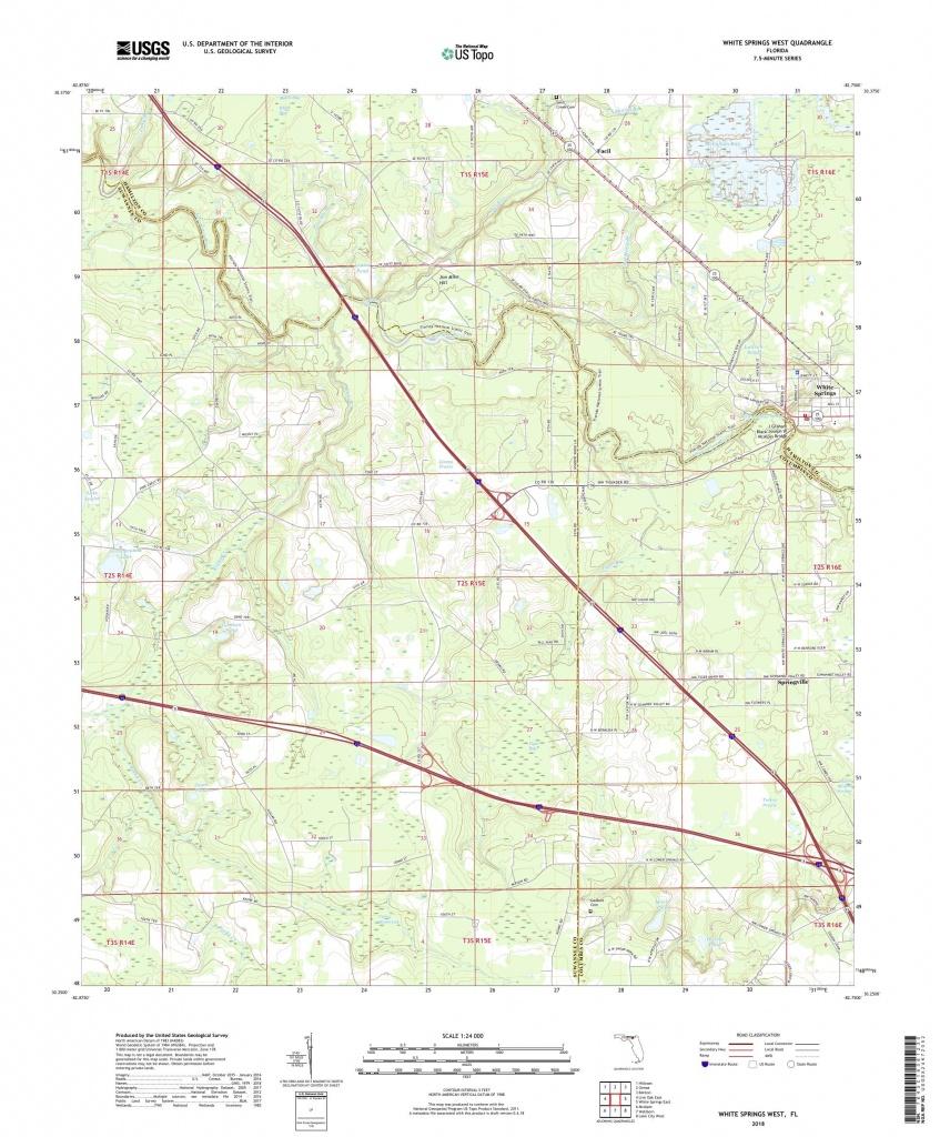 Mytopo White Springs West, Florida Usgs Quad Topo Map - White Springs Florida Map