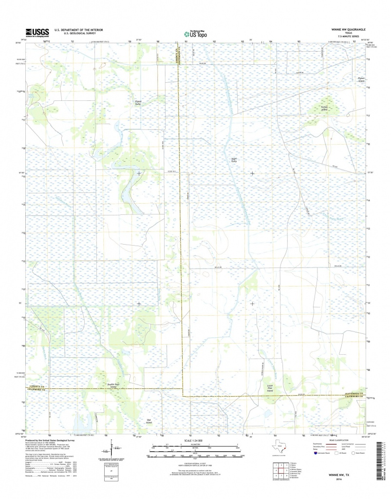 Mytopo Winnie Nw, Texas Usgs Quad Topo Map - Winnie Texas Map