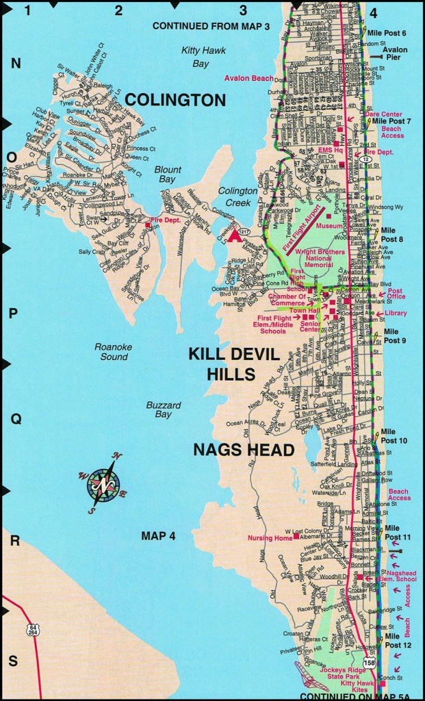 Nags Head Map | North Carolina | Nags Head Street Maps - Printable Map Of Outer Banks Nc