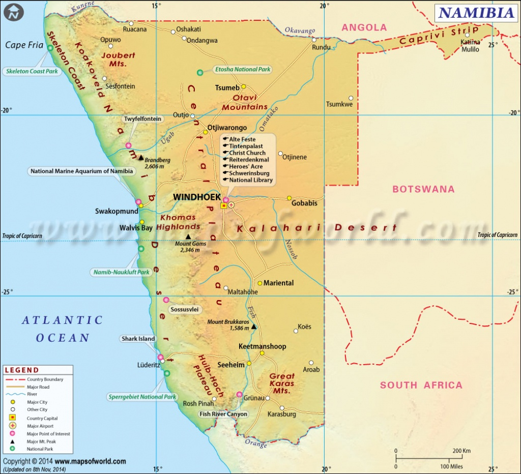 Namibia Map, Map Of Namibia - Printable Road Map Of Namibia