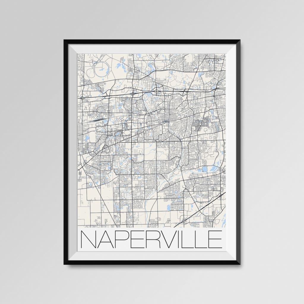 Naperville Illinois Map Naperville City Map Print Naperville | Etsy - Printable Map Of Naperville Il