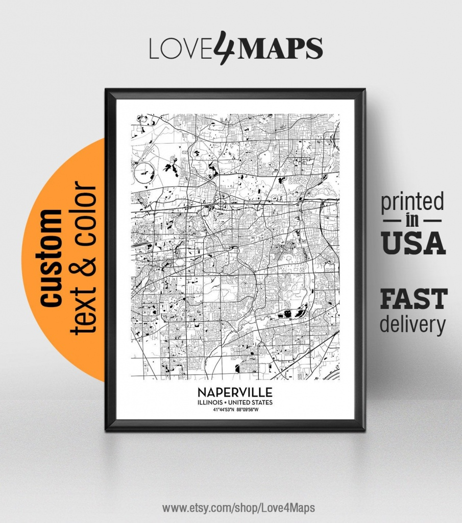 Naperville Illinois Map Naperville City Print Naperville | Etsy - Printable Map Of Naperville Il