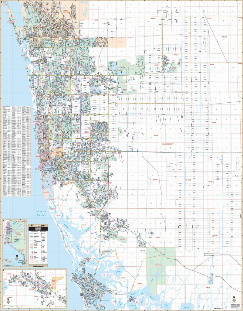 Naples & Collier Co, Fl Wall Map – Kappa Map Group - Collier County Florida Map