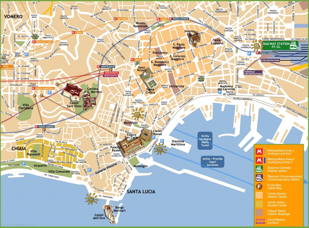 Naples Tourist Attractions Map | Naples | Naples Map, Italy Map Et - Printable Street Map Of Sorrento Italy