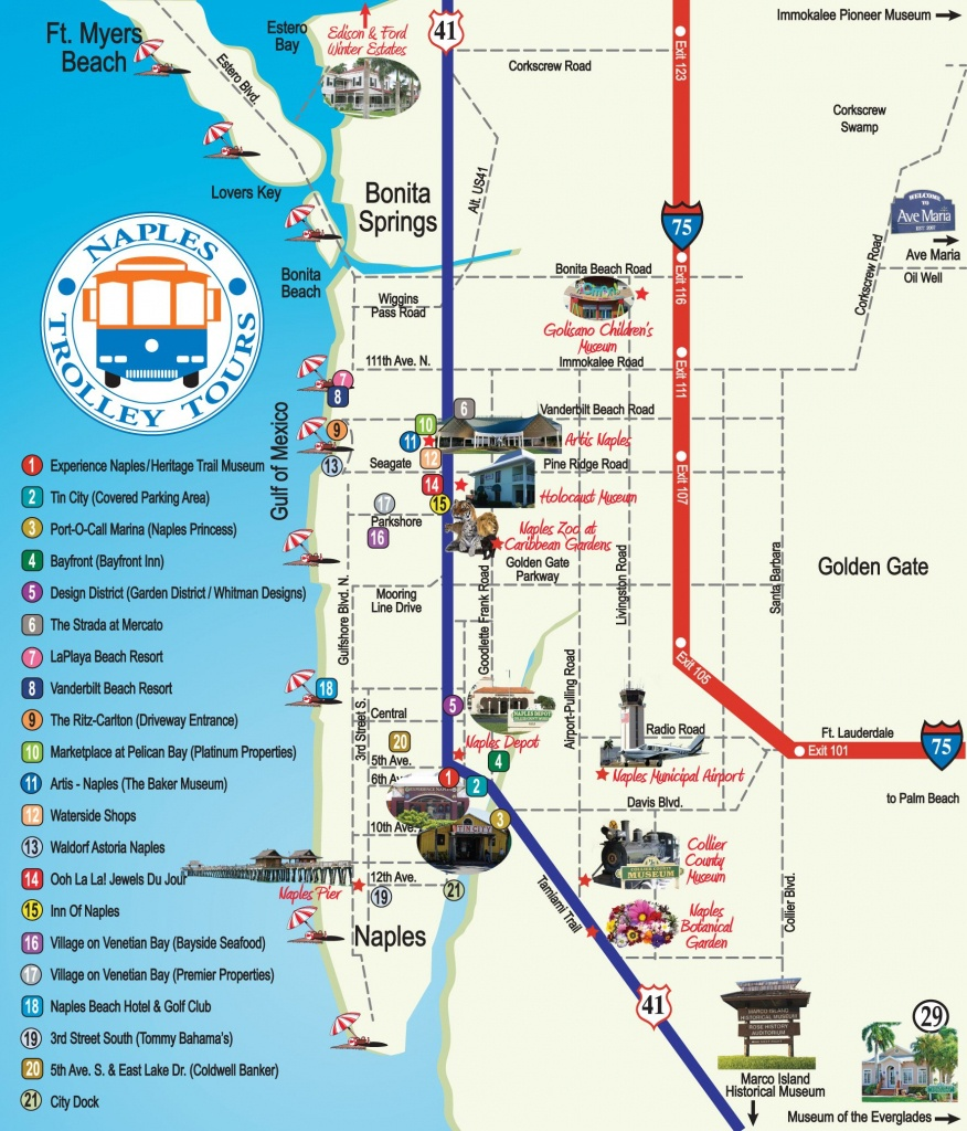 Naples Trolley Tours - Route Map | Florida | Map, Florida, Naples - Map Of Hotels In Naples Florida