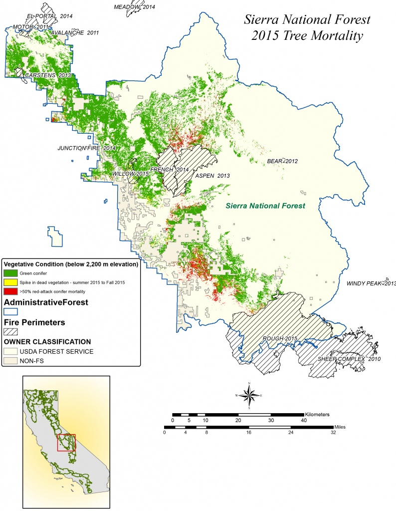 Nasa Maps California Drought Effects On Sierra Trees | Nasa - California Forests Map