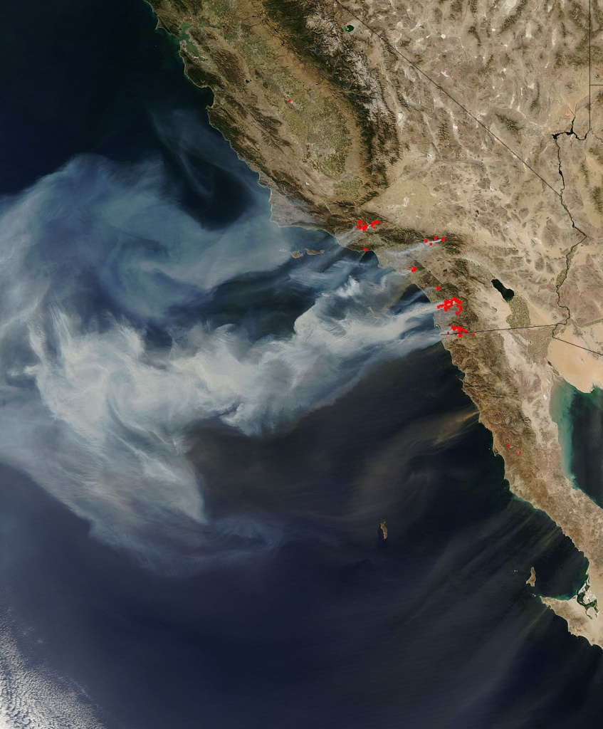 Nasa - Nasa Images Of California Wildfires - California Wildfire Satellite Map